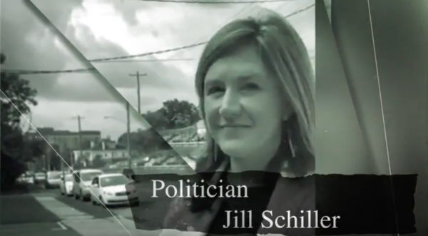 """A graphic from one of Brad Wenstrup's ads says """"Politician Jill Schiller."""" This is Schiller's first time as a candidate for public office. Wenstrup has had his name on the ballot seven times since 2009."""