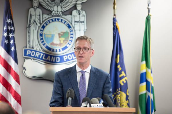 <p>Portland Mayor Ted Wheeler speaks at the introduction of his pick to become Portland's next police chief, Danielle Outlaw.</p>