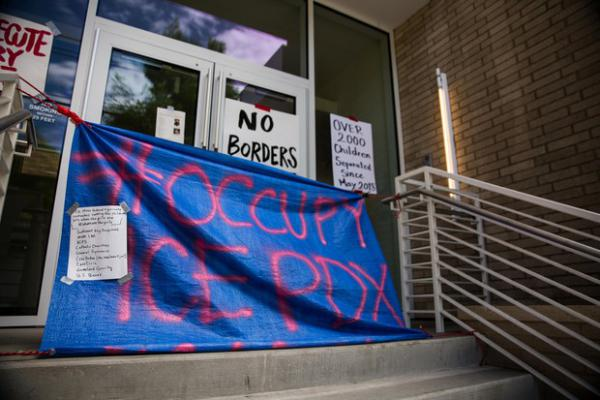 <p>Inside the Occupy ICE PDX camp at the Immigration and Customs Enforcement facility in Portland, Saturday, June 23, 2018.</p>