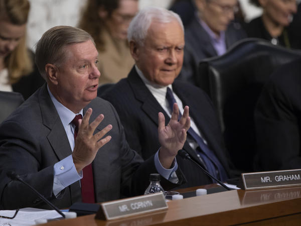 Sen. Lindsey Graham, R-S.C., joined by Sen. Orrin Hatch, R-Utah, (right) last week during questioning of Supreme Court nominee Brett Kavanaugh.