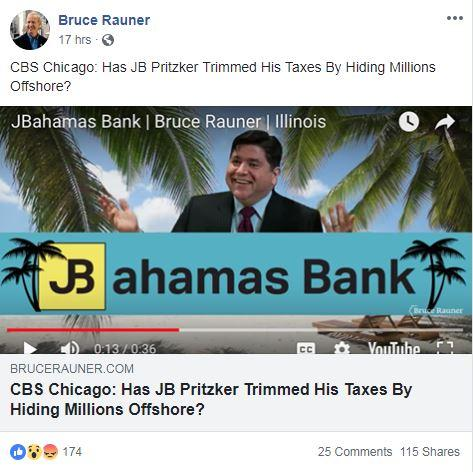 Rauner campaign Facebook post highlighting article about Pritzker's taxes