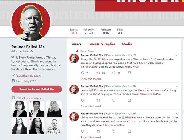 "JB Pritzker ""Rauner Failed Me"" Twitter Page"