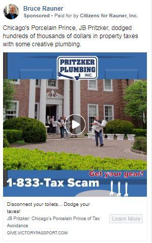"""Rauner campaign square-style """"Pritzker Plumbing"""" ad"""
