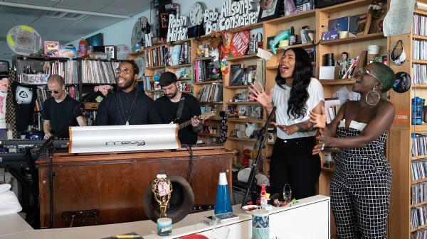 Cory Henry performs a Tiny Desk Concert on Sept. 7, 2018 (Claire Harbage/NPR).
