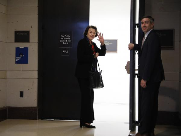 Sen. Dianne Feinstein, D-Calif., the ranking member on the Senate Judiciary Committee, arrives at the Office of Senate Security to view the FBI's supplementary report on Supreme Court nominee Brett Kavanaugh.
