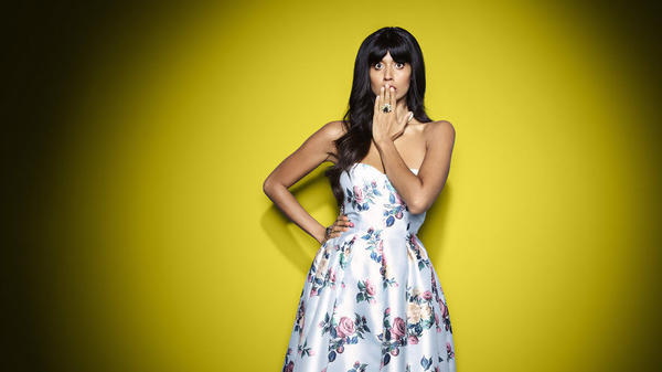 "Jameela Jamil in character as the ""conceited but deeply kind, insecure, vainglorious"" socialite Tahani al Jamil."