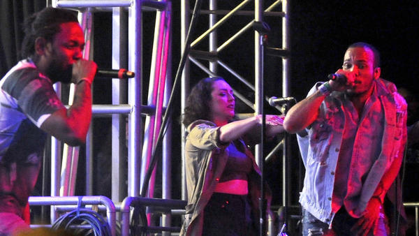 Kendrick Lamar, left, and Anderson .Paak perform onstage during the 2016 Coachella Valley Music & Arts Festival.
