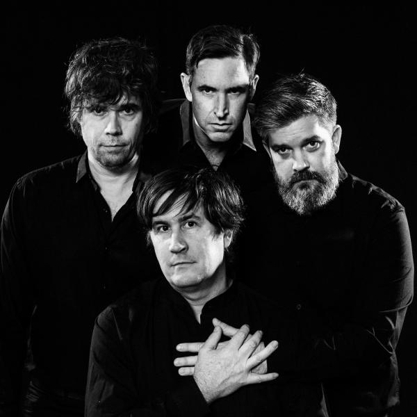 The present-day Mountain Goats, clockwise from bottom: John Darnielle, Jon Wurster, Peter Hughes, Matt Douglas.