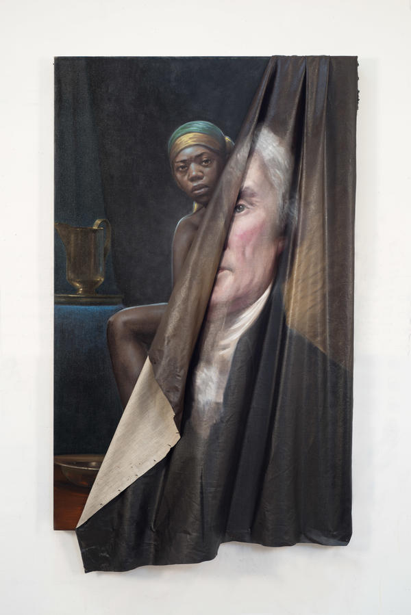 """Behind the Myth of Benevolence"" depicts a black woman behind a rumpled canvas containing a portrait of Thomas Jefferson."