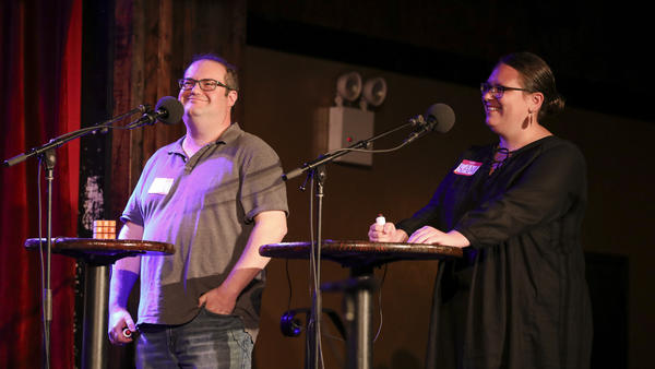 Contestants David Grazian and Sam Grossman appear on <em>Ask Me Another</em> at the Bell House in Brooklyn, New York.