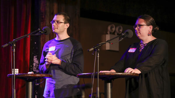 Contestants compete in the Final Round on<em> Ask Me Another</em> at the Bell House in Brooklyn, New York.