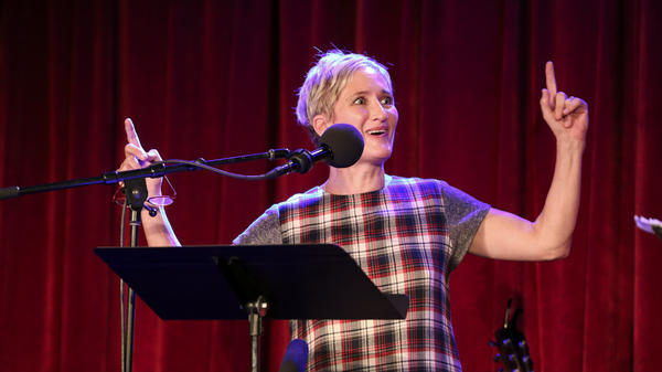Jill Sobule appears on <em>Ask Me Another</em> at the Bell House in Brooklyn, New York