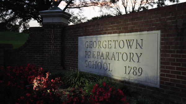 The entrance to the Georgetown Preparatory School in Bethesda, Md., which Supreme Court nominee Brett Kavanaugh attended. The allegations of drinking and sexual misconduct swirling around Kavanaugh have prompted a new round of soul-searching at elite prep schools.