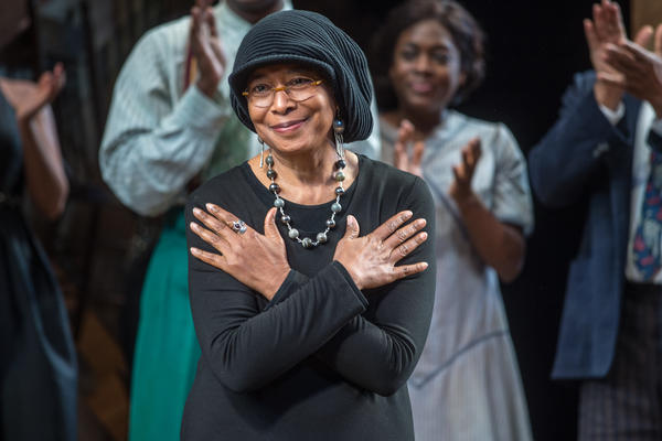 Author Alice Walker, pictured onstage of the 2015 Broadway revival of <em>The Color Purple</em> musical, has released a new collection of poetry called <em>Taking the Arrow Out of the Heart.</em>