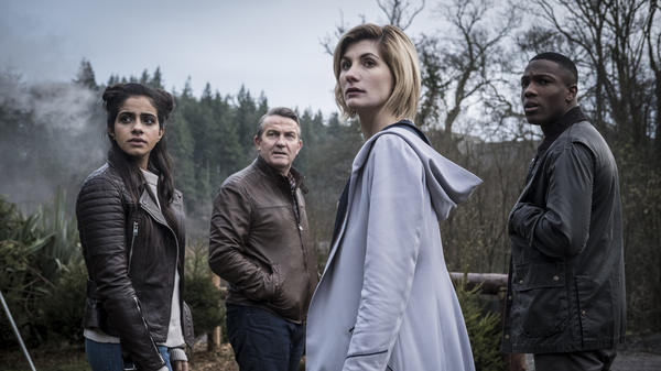 Don't be TARDIS for the ... part ... is. Yasmin (Mandip Gill), Graham (Bradley Walsh), The Doctor (Jodie Whittaker) and  Ryan (Tosin Cole) in the new season of <em>Doctor Who</em>.