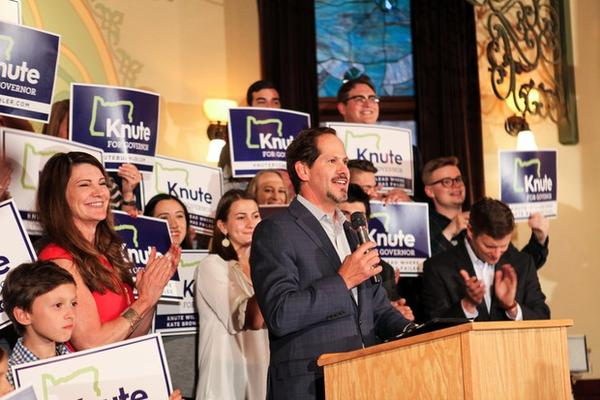 <p>Oregon state Rep. Knute Buehler speaks to supporters after winning the Republican primary to challenge Kate Brown for the governor's seat.</p>
