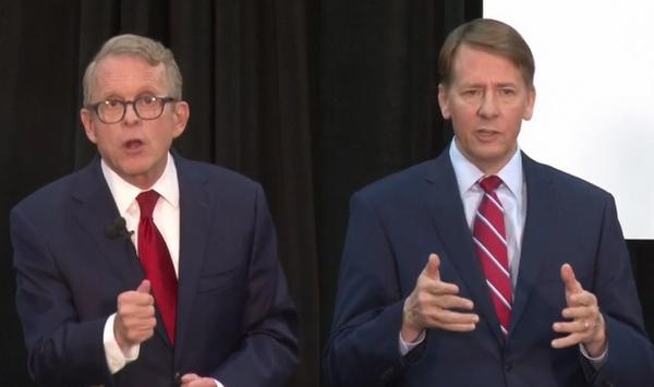 Mike DeWine (R) and Richard Cordray (D) face off in their final debate at Cleveland State University on Monday night.