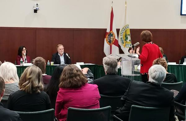 Former USF Sarasota-Manatee CEO Laurey Stryker speaks at a USF Consolidation Town-Hall in Sarasota Oct. 2.