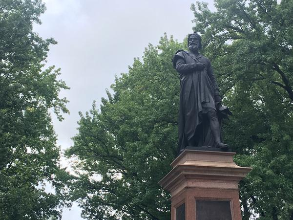 The Christopher Columbus statue in Tower Grove Park is the site of controversy. The statue was dedicated in 1886.