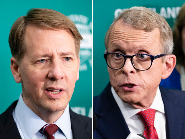 Ohio governor candidates Democratic Richard Cordray and Republican Mike DeWine speak to reporters following their third debate at Cleveland State University.
