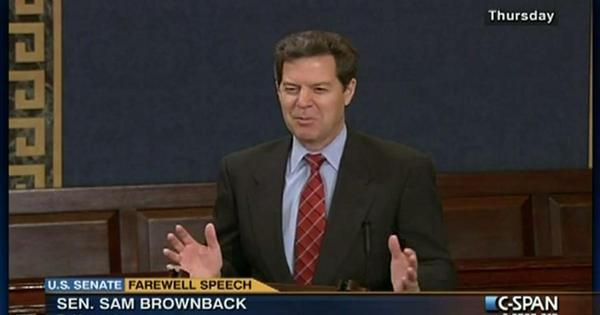 Brownback gives a farewell address when leaving the U.S. Senate.