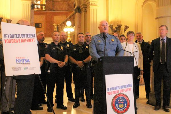 Colorado State Patrol Lieutenant Colonel Barry Bratt talks about a new ad campaign to prevent impaired driving Tuesday at the State Capitol.