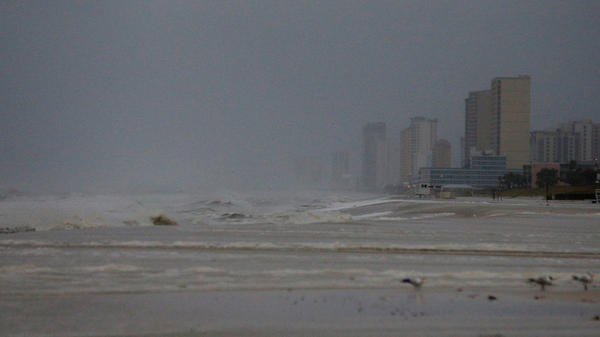 Strong surf is seen at Panama City Beach on Wednesday morning, as Hurricane Michael approaches the Florida Panhandle.