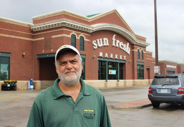 Terry Chester, 53, makes $9.85 an hour as a bagger at Sun Fresh. When he started there five years ago, he was making minimum wage.