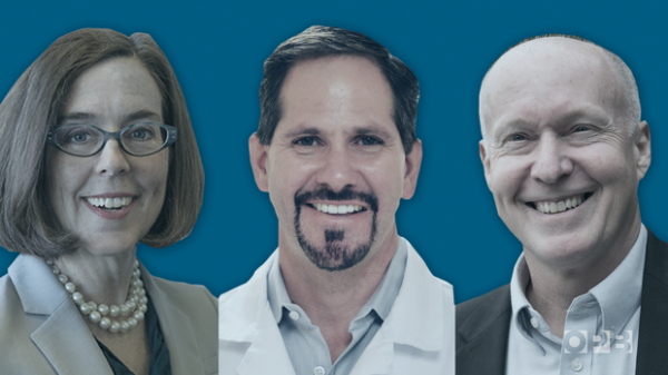 <p>The three major-party candidates in the 2018 race for Oregon governor are Gov. Kate Brown (Democrat), Rep. Knute Buehler (Republican) andPatrick Starnes (Independent).</p>
