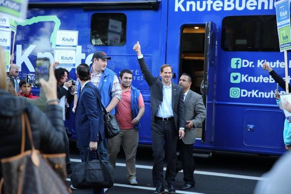 <p>Republican gubernatorial candidate Knute Buehler arrives for his third and final debate with Gov. Kate Brown.</p>