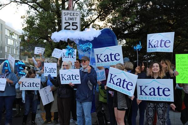 <p>Supporters of Gov. Kate Brown demonstrate in Portland outside of the third and final gubernatorial debate of the 2018 campaign.</p>