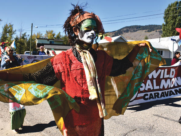 This year's Wild Salmon Caravan followed the trail of sockeye salmon from the Salish Sea to their spawning grounds far inland and incorporated the customs and costumes of the indigenous peoples of British Columbia for whom salmon is sacred.
