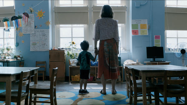 Nobody, not even the rain, has such small hands: Jimmy (Parker Sevak) and Lisa (Maggie Gyllenhaal) in <em>The Kindergarten Teacher.</em>