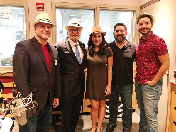 Pianist Antulio Mora, composer Richard Kagan, actress Elaine Flores, host of Sundial Luis Hernandez, and actor Bruno Fria at the WLRN Studios on Oct. 8. (left to right)