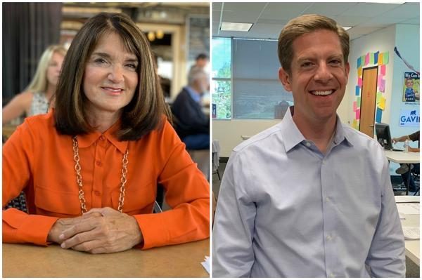 Republican Diane Harkey and Democrat Mike Levin are running against each other to succeed California Republican Rep. Darrell Issa in the state's 49th Congressional District. (Chris Bentley for Here & Now)
