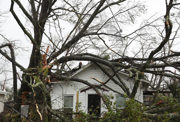 Fallen trees lie on top of a home after Michael damaged parts of Panama City on Wednesday. The hurricane surprised many forecasters with its sharp and intense growth.
