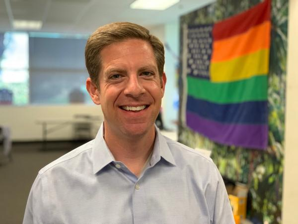Democrat Mike Levin is facing Republican Diane Harkey in the race to fill Rep. Darrell Issa's seat in California's 49th Congressional District. (Chris Bentley/Here & Now)