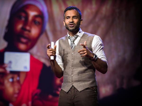 Vivek Maru on the TED stage.