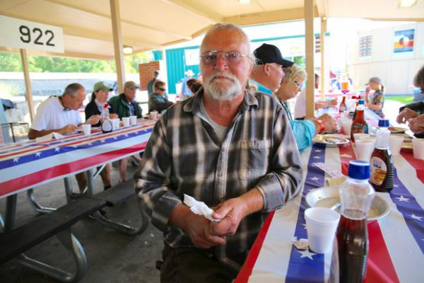 """<p>Chris Eggo of Pendleton has breakfast at a VFW fundraiser. An army veteran, he says,""""I'm not really a [political] party kinda guy."""" Still, he registers to vote as a Democrat, and he says his best friend is a Republican.</p>"""