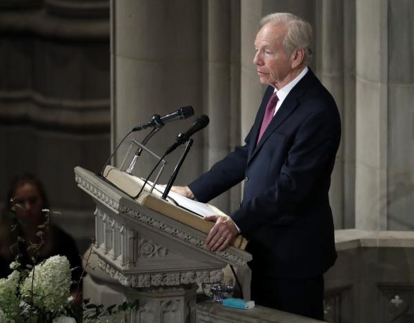 Former Sen. Joseph Lieberman of Connecticut speaks during a memorial services for Sen. John McCain, R-Ariz., at Washington National Cathedral in Washington in September.