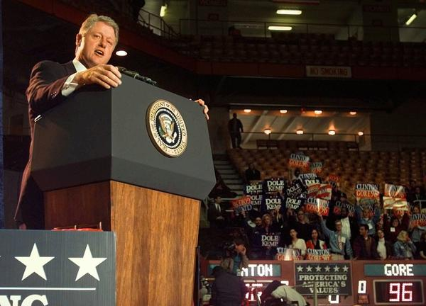 President Clinton speaks at a rally at Ohio State University in Columbus in October 1996.