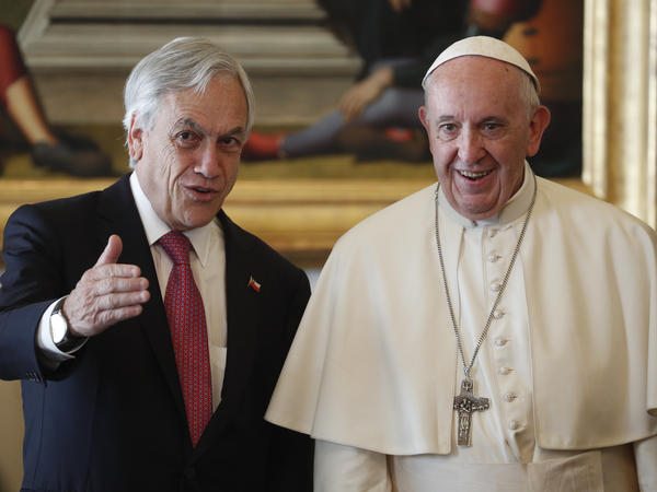Pope Francis meets with Chilean President Sebastian Pinera during a private audience Saturday at the Vatican.