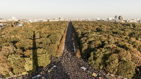 Protesters packed the 3-mile span from Alexanderplatz through the Brandenburg Gate to the Victory Column in Berlin.