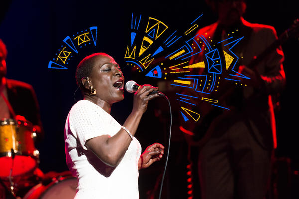 Sharon Jones performs onstage with The Dap-Kings at The Wiltern Theater on March 25, 2014 in Los Angeles, Calif.