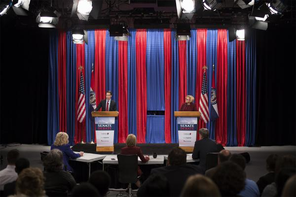 Missouri Attorney General Josh Hawley and U.S. Sen. Claire McCaskill debate on Thursday night.