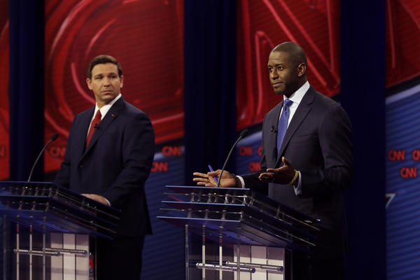 Republican gubernatorial candidate Ron DeSantis (left) and Democratic gubernatorial candidate Andrew Gillum (right) during a CNN debate Sunday.