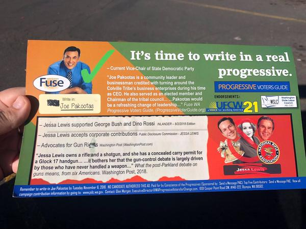 "Mailers like this one urging a write-in vote for a ""real progressive"" candidate were sent to voters in four hotly contested Washington state legislative races."