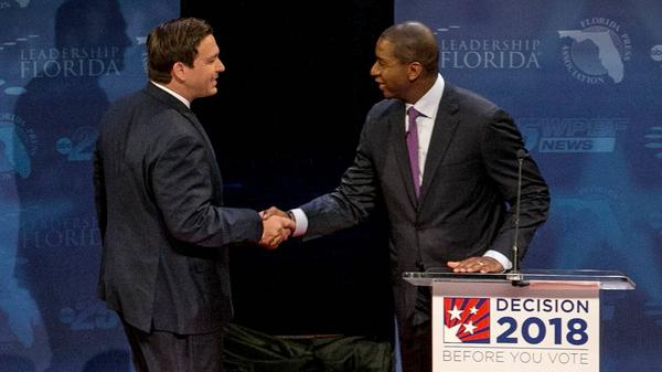 Gubernatorial candidates Andrew Gillum and Ron DeSantis shook hands at the beginning of the debate. But they continously sparred from then on.