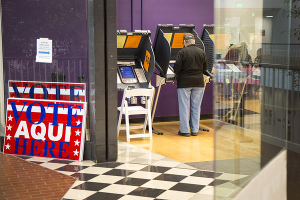 Voters at Austin Community College in Texas cast their ballots on the first day of early voting for the 2018 midterm elections.