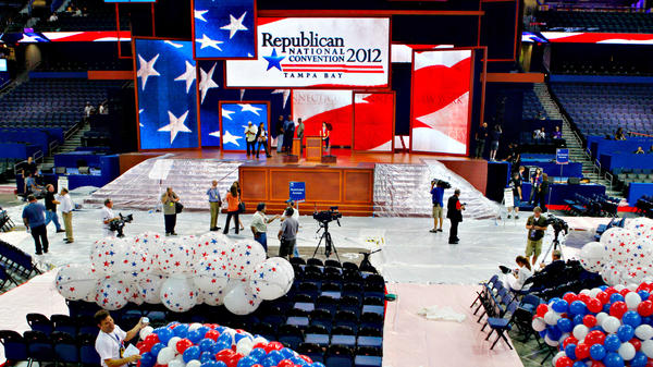 Riggers load nets full of balloons for the Republican National Convention festivities inside the Tampa Bay Times Forum on Friday in Tampa, Fla.